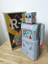 ROBOT R-1 - Nero a Righe Grigia Versione in metallo-by Rocket USA. TIN ROBOT SPACE TOY