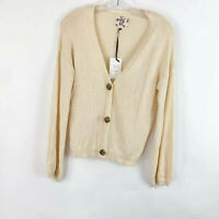 Hippie Rose Button Up Cardigan Sweater Cream Long Sleeve Womens Size Small NWT