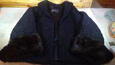 Vintage Black Persian Lamb Fur Brown Mink Collar Cuff Car Waist Length Coat
