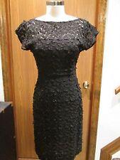 Akris Black Cut-awayLace Short Sleeve Dress Size 4