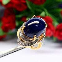 NATURAL 14 X 18 mm. OVAL CABOCHON BLUE SAPPHIRE RING 925 STERLING SILVER SZ 6