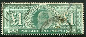 (800)  VERY GOOD USED SG266 EDVII £1.00 DULL BLUE GREEN