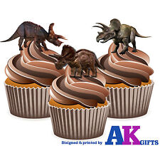 PRECUT Dinosaur Triceratops 12 Edible Cupcake Toppers Decorations Birthday Party