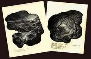 Original SET 2 Wood Engravings Prints Inspirational Haiku Light Life Seeker