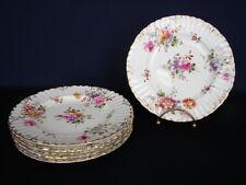 "Set of 6 Royal Crown Derby DERBY POSIES Burford Shape 7-1/8"" Dessert Plates"