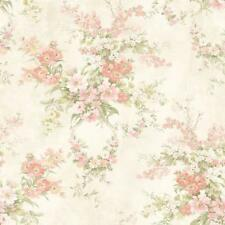 Wallpaper Designer Pink Coral Green Yellow Floral on Cream Faux