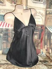 USA M Victoria's Secret Black Silk Nightgown Embroidered VS Logo Silver Thread
