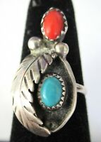 Navajo Sterling Silver Genuine Turquoise & Coral Vintage Ring Size 7