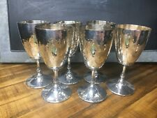 6 Hammered Silver Plate Wine Goblets Marked Shef