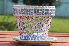 Handmade Purple China Porcelain Mosaic Flower Pot/ Vase with Vintage Jewelry