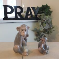 Lladro Mini Monkey 5432 & Painful Monkey 5018 Mint Condition Fast Shipping!