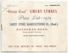 India 1958 illustrated price list of Emery Grinding stones