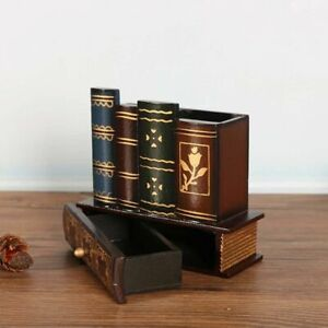 Ornament Drawers Stationery Holder Pen Holder Pen Case Book Shape Retro Wood