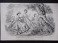 GRAVURE ANCIENNE MODE 19e - CONSEILLER DAMES ET DEMOISELLES - 1865 - ENFANTS