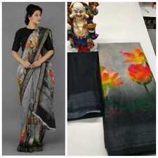 Indian Party Wear Saree Black Multi Color Linen Sari Black Blouse Zari Border SL