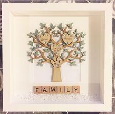 Handmade Personalised Scrabble Frame Family Tree Names Gift Birthday Wedding