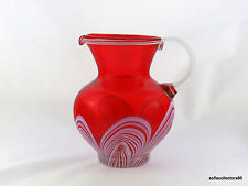Durand Art Glass Opal in Red Peacock / Pulled Feather Pitcher or Jug - 1920s