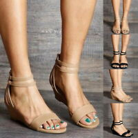 Summer Women High Heel Wedges Sandals Buckle Ankle Strap Casual Peep Toe Shoes