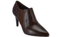 Isaac Mizrahi 7.5 wide brown Leather Booties with Quilting Detail pointed toe