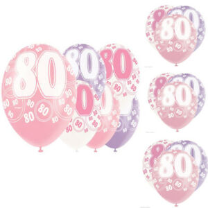 """Age 80th Birthday Balloons, Pack of  6, 12"""" Latex Glitz Pink 2 Pcs each Colour"""
