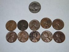 1960-1969 U.S. Lincoln Cents  Lot of 10 +US Buffalo Nickel (missing date).