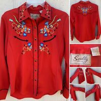 Scully Embroidered Blouse Snap Front & Sleeves Western Shirt Cowgirl S Red