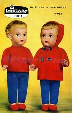 Vintage Baby Dolls Duffle Set Knitting Pattern Copy 30 & 35 cm ins dolls 4 ply