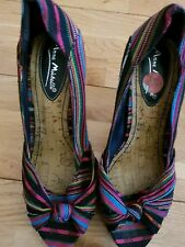 "USED WOMENS ANNE MICHELLE 5"" HIGH HEELS MULTI COLORED SIZE UK 5 EUR 38"