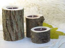 3Rustic Wooden Branch Tree Tea Light Wood Candle Holders Woodland Wedding Lights