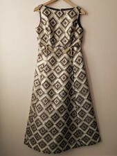 60s 70s vintage gold lamé & brown evening maxi dress 12 ball prom party