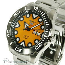 New SEIKO 5 SPORTS AUTO STAINLESS STEEL DIVERS STYLE ORANGE FACE SRPA05K1