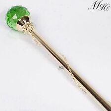 Green Round Ball Scepter Wand Crystal Gold Sceptres Wedding Pageant Party Prom