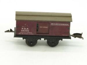 Fandor O Gauge Tin Litho 4 Wheel Pennsylvania Box Car 84392 Complete