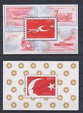 TURKEY 1998, 75th ANN. OF THE FOUNDATION OF TURKISH REPUBLIC IMPERF 2 BLOCKS MNH