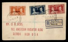 DR WHO 1937 NEW ZEALAND NIUE OVPT KGVI CORONATION COMBO REGISTERED  g12308