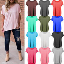 Womens Plain Slash Neck Baggy Top Ladies Off Shoulder Bardot Oversized T Shirt