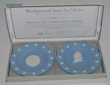 Wedgwood Blue Jasperware Pair of Compotiers Virginia and Jefferson