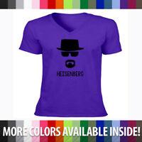 Breaking Bad Walter White Heisenberg Badass Cool Mens Unisex V-Neck T-Shirt Tee