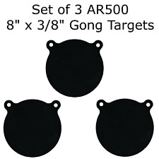 """Set of 3 AR500 Steel 8"""" x 3/8"""" Shooting Targets Gong Style"""