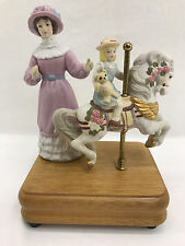 Mother and Daughter Carousel Porcelain Figurine with Music Box