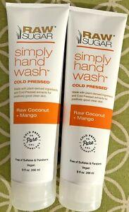 2X Raw Sugar Simply Hand Wash Raw Coconut + Mango Vegan 9 oz Cruelty Free NEW!
