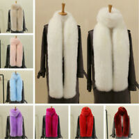 Ladies Faux Fox Fur Scarf Long Soft Collar Shawl Wrap Stole Fluffy Furry Winter