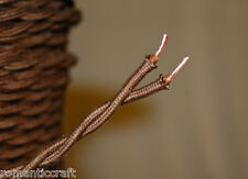 10' Brown Twisted Cloth Covered Wire Cloth Cord Hanging Pendant Vintage Light