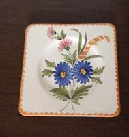 vintage St-Clement France plate saucer square shape floral blue pink orange.