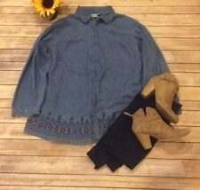 Duo Maternity Denim Button Down Blouse With Floral Embroidery Sz. L