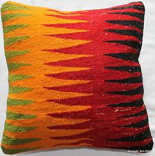 (40*40cm, 16inch) Turkish handwoven kilim cushion cover red yellow black gree