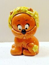 Mid Century Vintage Children's Lefton Ceramic Lion Bank H5956 Brown Yellow