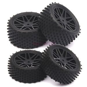 RC 1/10 Off-Road Car Buggy Front & Rear Tyre Tires &Wheel Rim Black 66020-66040