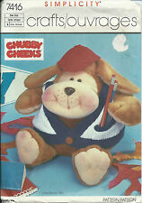 "S 7416 sewing pattern 8"" Hound DOG Puppy DOLL & CLOTHES Varsity Sweater VEST HAT"