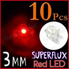 10 3mm Superflux Piranha Red LED 15000mcd Super flux